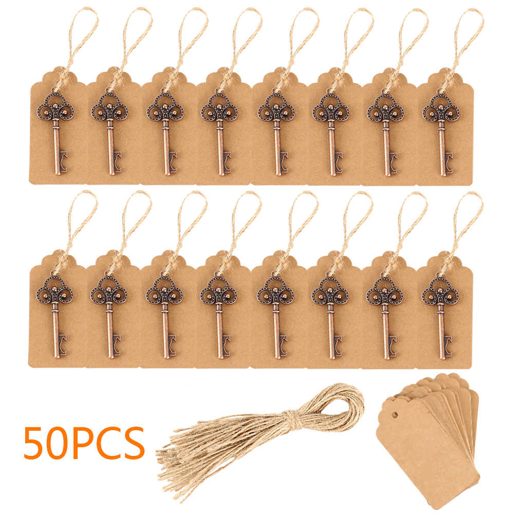 50pcs Wedding Souvenirs Skeleton Bottle Opener + Tags vintage Wedding Favors and Gifts for Guest Party decoration Favors box