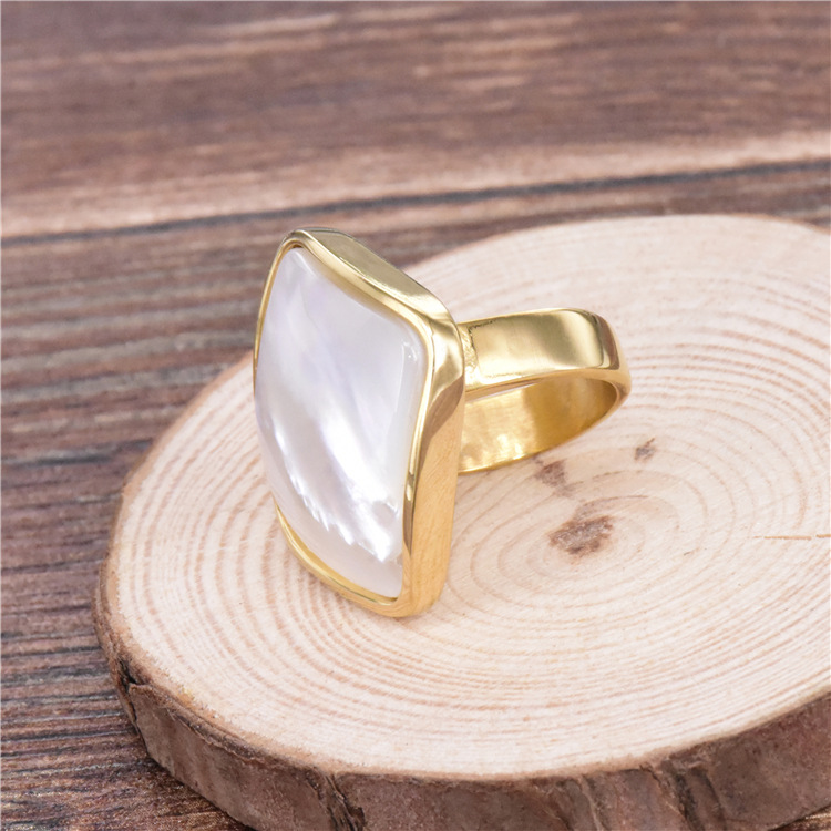 High quality big shell rings jewelry titanium steel finger ring gold color wedding rings for women free shipping in Rings from Jewelry Accessories