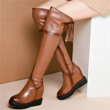 Thigh High Boots Women Cow Leather Wedges Stretchy Over The Knee Round Toe Heel Platform Pumps Punk Creepers New