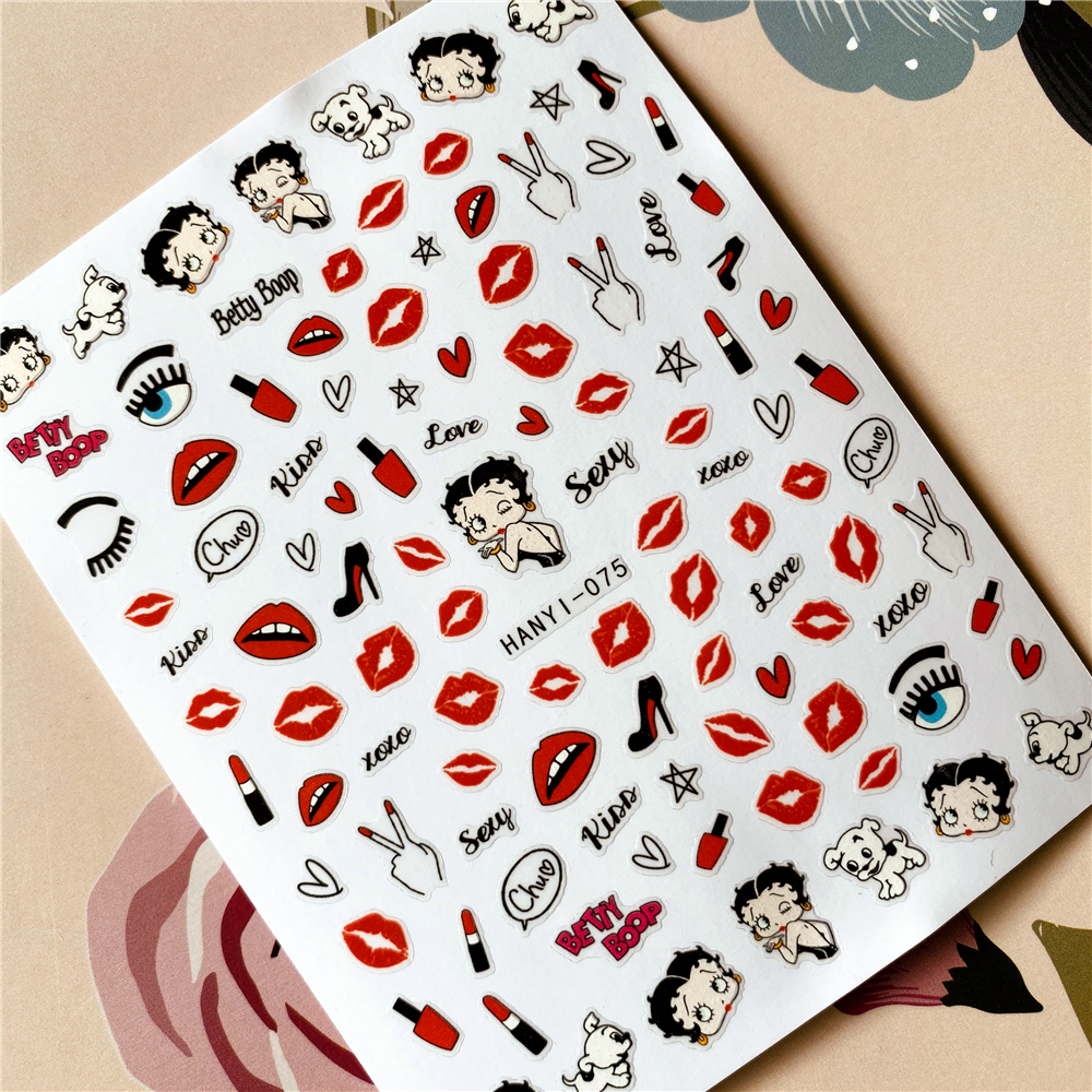 HANYI-075-284 Love Kiss Red Heart Red Lips3D Back Glue Nail Decal Nail Sticker Nail Decoration Nail Art Tool  Nail Ornament