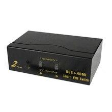купить 2-Port Hdmi Kvm Smart Switcher 2 in 1 Out Remote Control Switch Usb Hd Computer Splitter дешево