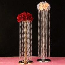 Lote de 6 unidades de noria de boda, cortina de bolas de cristal, cuentas acrílicas, mesa principal de plomo en T, flor, área de bienvenida decorativa