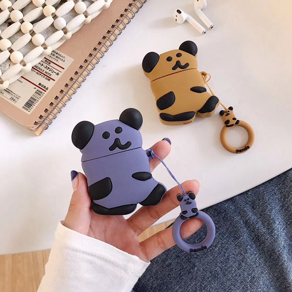 US $2 81 OFF For AirPods Case 3D Cute Cartoon Bear Earphone Case For Airpods 2 i10 i11TWS ins Style Protect Cover with Finger Ring Strap in