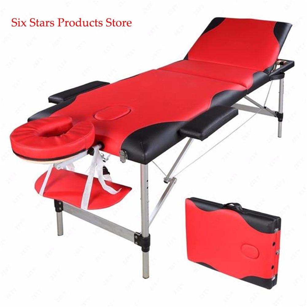 185cm*60cm*81cm Beauty Bed Spa Tattoo Body 3 Sections Folding Aluminum Tube Bodybuilding Massage Alloy Adjustable