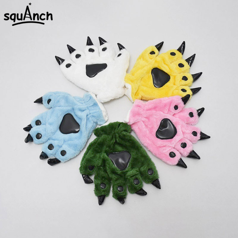Kugurumi Animal Gloves Paw Dinosaur Bear Cat Finger Claw Winter Windproof Warm Funny Cute Fluffy Halloween Party Performance