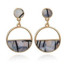 new earrings fashion simple personality geometry semicircle hollow out direct imitation marble pendant