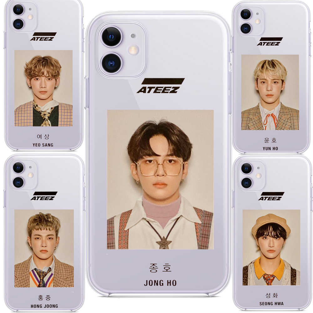 Ateez Hongjoong Seonghwa Tempered Glass Case untuk Apple Iphone XR 7 8 6 6S Plus 11 Pro X XS MAX Lembut Ponsel Ponsel Bag Cover