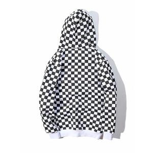 Image 3 - Bebovizi Mens Harajuku היפ הופ לרכוס קפוצ ון סווטשירט שחור לבן שחמט משובץ הסווטשרט Streetwear צמר ברדס הברנש