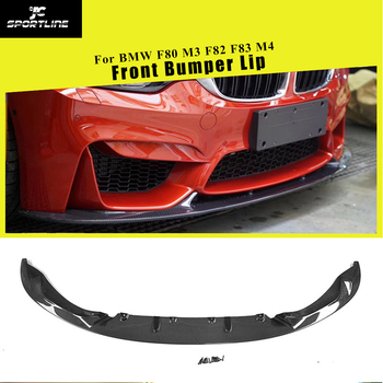 Front Bumper Lip Splitters for BMW F80 M3 F82 F83 M4 Sedan Coupe Convertible 2014 - 2018 Carbon Fiber Front Bumper Lip Spoiler carbon fiber rear trunk wings m4 spoiler for bmw 4 series f36 420i 428i 435i gran coupe 4 door 2013 gloss black spoiler wing