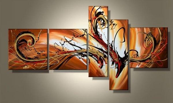Fait à la main 5 pièces groupe abstrait peinture à l'huile peint à la main moderne toile Art mural pour salon décoration murale décoration de la maison