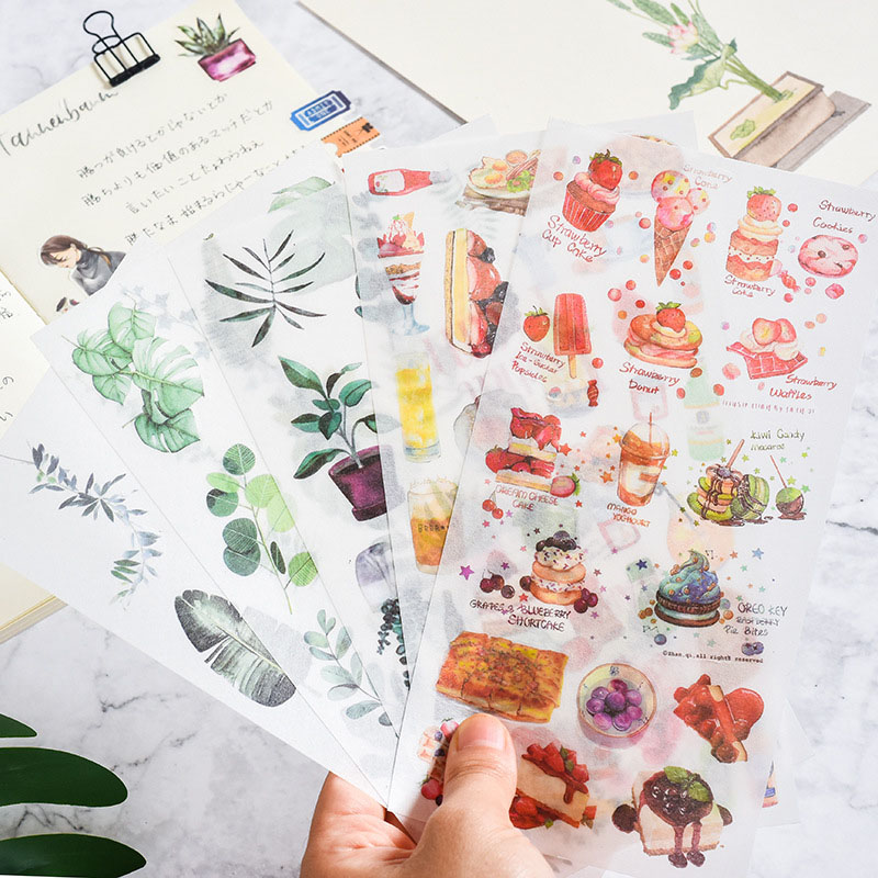 3Sheets Cute Plant Stickers Kawaii Food Stationery Sticker Paper Adhesive Sticker For Kid DIY Scrapbooking Diary Albums Supplies