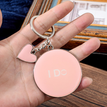 Vicney I DO Key Chain For Women Romantic Style Heart Shape Keychain Pink Color Round Keyring Bag Charm Zinc Alloy Holder