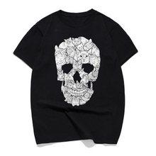 Kot czaszka projekt czaszka z horroru T Shirt Halloween mężczyźni z krótkim rękawem mężczyźni Terror T-Shirt bawełna wysokiej jakości wokół szyi koszulki drukowanie