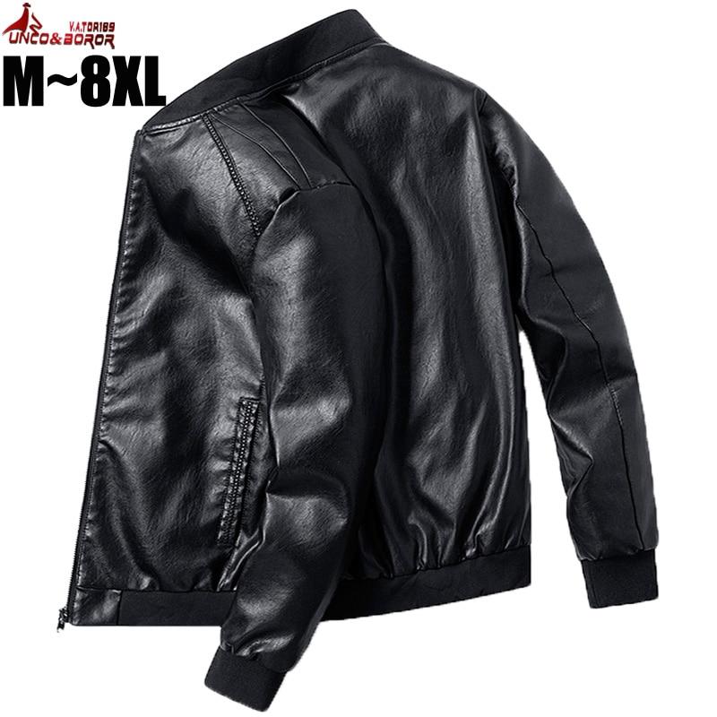 Plus Size 7XL 8XL PU Leather Jacket Men Bomber Baseball Jacket Biker Pilot Varsity College Top Slim Fit Motorcycle Leather Coats