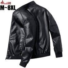 Mais tamanho 7xl 8xl jaqueta de couro do plutônio dos homens bomber jaqueta de beisebol motociclista piloto varsity college superior magro ajuste casacos de couro da motocicleta