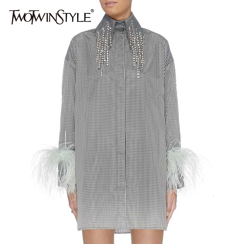 TWOTWINSTYLE Diamonds Tassel Stirped Women's Dresses Lapel Collar Long Sleeve Feathers Loose Dress For Female 2019 Fashion Tide