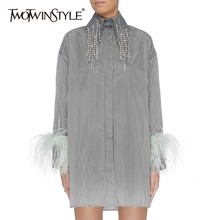 TWOTWINSTYLE Diamonds Tassel Stirped Womens Dresses Lapel Collar Long Sleeve Feathers Loose Dress For Female 2020 Fashion Tide