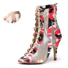 Qianjiaowu/женские высокие сапоги для танцев; Красные туфли