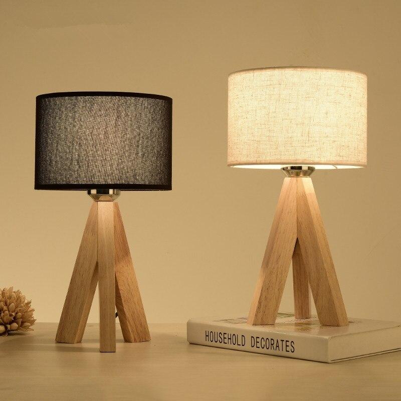 Tripod Wood Table Lamp Fabric Lampshade