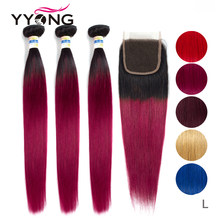 1B/Blue Red 99J Burgundy Ombre Bundles With Closure Brazilian Straight 3/4 Human Hair Bundles With Closure Middle Ratio Non-Remy(China)