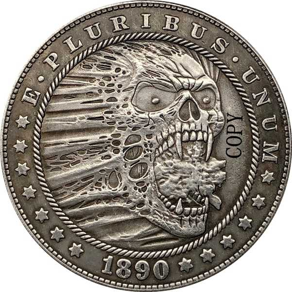 Hobo Nikkel 1890-CC Vs Morgan Dollar Munt Copy Type 176