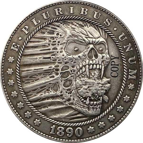 Hobo Nikkel 1890-CC Vs Morgan Dollar Munt Copy Type 176