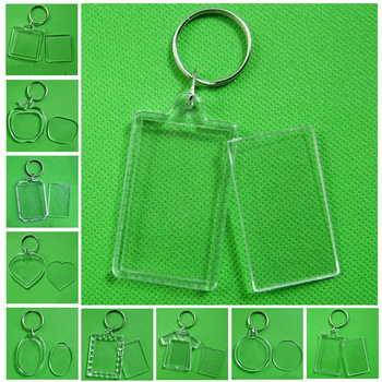 Transparent Acrylic Insert Photo Picture Frame Keyring Keychain Rectangle Round Geometric Heart Shaped DIY Key Chains Rings image