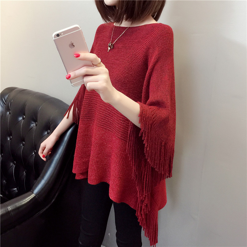 Fall and Winter 2009 Korean Edition Fashion Loose tasseled Shawl Large Size Knitted Sleeve Woman Swaters Fashio 2019 Women