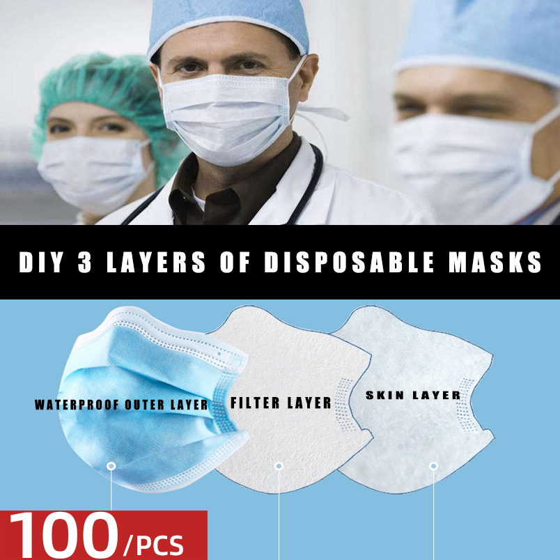 Mask DIY materials 3 layers of DIY self-made disposable mask to protect against dust and influenza bacteria