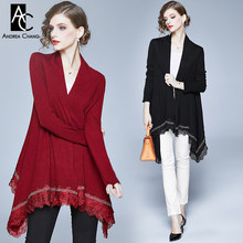 ONE SIZE autumn winter woman sweater lace bottom border cape cloak style open stitch black wine red long casual sweater coat(China)