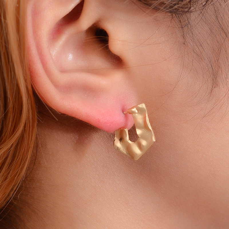 Hello Miss New fashion earrings alloy personality irregular geometric trend womens jewelry gifts