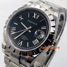 Parnis 39mm Top luxury mens watch silver case sapphire crystal black silver dial