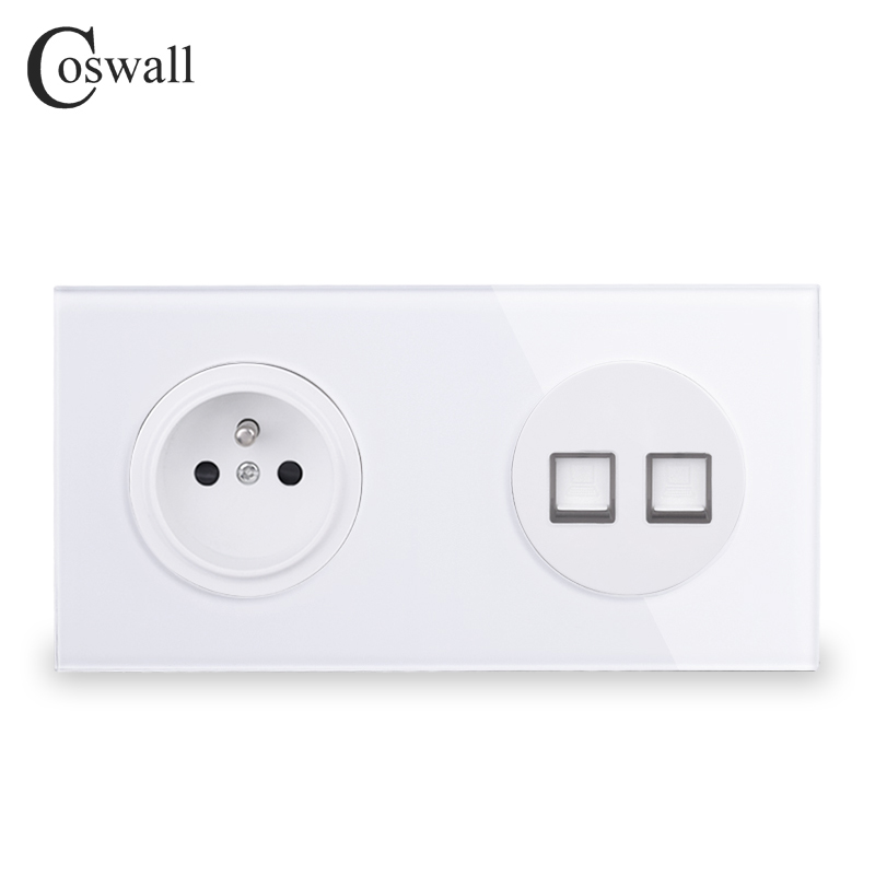 Coswall Tempered Glass Panel French Standard Wall Socket + 2 Gang CAT5E RJ45 Internet Data Computer Jack 172*86mm R11 Series