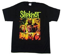 Slipknot Green Name & Logo Yellow Masks Black T Shirt New Official Band Merch Print Cotton High Quality top tee