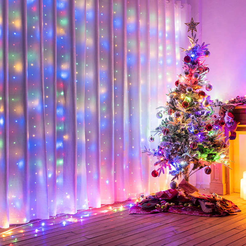 3x1 3x2 3x3 LED Christmas Garland Fairy Lights String Lights For Curtains Home Bedroom Decoration Outdoor Light Holiday Lights