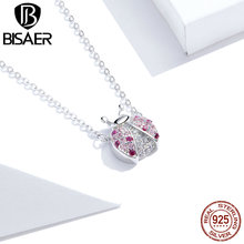 BISAER 100% 925 Sterling Silver Pink Ladybug Necklace Cubic Zirconia For Women Necklace Long Chain Link Jewelry Gift HSN400