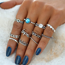 цена на 11pcs/set Vintage Silver Letter Flower Heart Ring Sets For Women Blue Crystal Carved Kunckle Finger Midi Finger Ring Jewelry