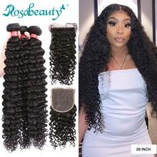 Rosabeauty 28 클로저로 30 인치 딥 웨이브 번들 페루 레미 인간의 머리카락은 물 곱슬 및 5X5 레이스 클로저를 엮어 낸다.