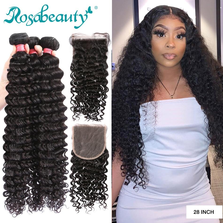 Rosabeauty 28 30 дюймов глубокая волна пряди с закрытием перуанские Remy человеческие волосы ткет вьющиеся волосы и 5X5 Кружева Закрытие