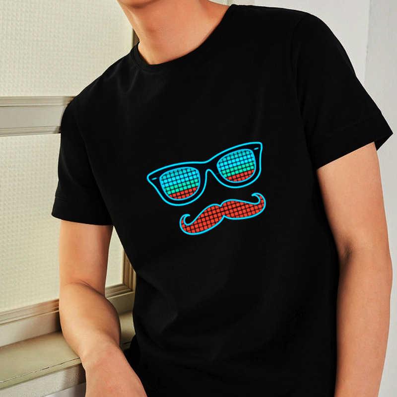 ファッション発光tシャツ男性女性サウンド起動led tシャツ夏半袖パーティーdj点滅グローtシャツ