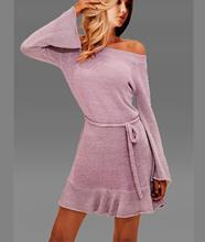 Autumn Winter Knitted Sweater Dress Clothes Women Off Shoulder Midi Sexy Pink  Plus Size Sleeve Party Long