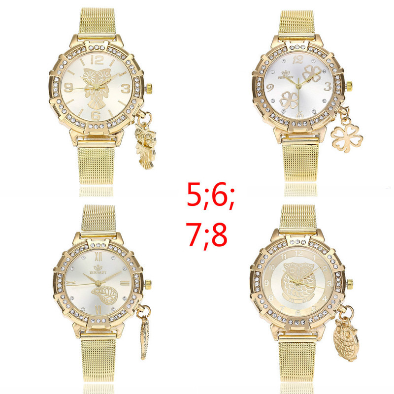 Business Net Red Fashion Women's Gold Net Wrist Watch Pendant With Diamond Alloy Quartz Watch Female Student Watch