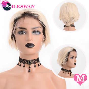 Silkswan ショートピクシーカットかつら人間のレミーの髪 150 密度 #1B/613 天然黒人女性のレースフロントウィッグ - DISCOUNT ITEM  50% OFF ヘアエクステンション & ウィッグ