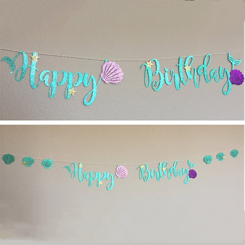 Banner de Feliz Cumplea/ños de Sirena Pancarta de Sirena y Decoraciones Colgantes Guirnalda de Puntos Circulares Accesorios de Diesta de Sirena para Decoraciones de Fiesta Tem/ática de Sirena