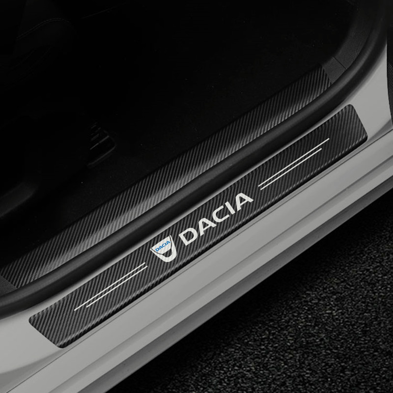 4PCS Car Styling Carbon Fiber Door Sill Protector Stickers For Dacia Duster Logan Sandero Lodgy Pads protection Sticker