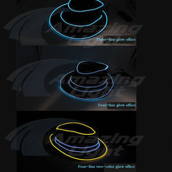 LED glow wire hat with 2 AA batteries equalizer light up el wire hat for party night