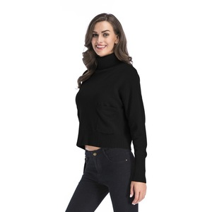 Image 1 - Jerseys de mujer sólidos de cuello alto de INSINBOBO suéteres sueltos de punto Otoño Invierno ropa Casual jerseys