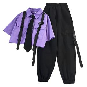 2021 Autumn Streetwear Pants High-Waist Straight Ribbon Cargo Pants Student Loose Short-Sleeved Shirt with Tie two-piece Set