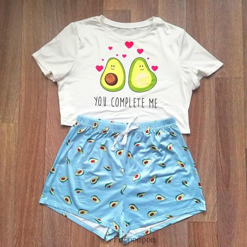 Pijama de algodón con estampado para mujer, ropa de dormir sencilla e informal de manga corta, conjunto de pijamas, para el hogar, con estampado de gato