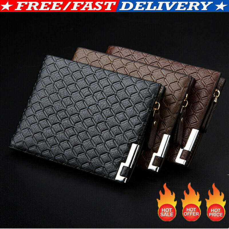 Hot Men Wallet PU Leather Wallet Business Solid ID Credit Card Handbag Male Holder Clutch Bifold Pocket Zipper Coin Purse